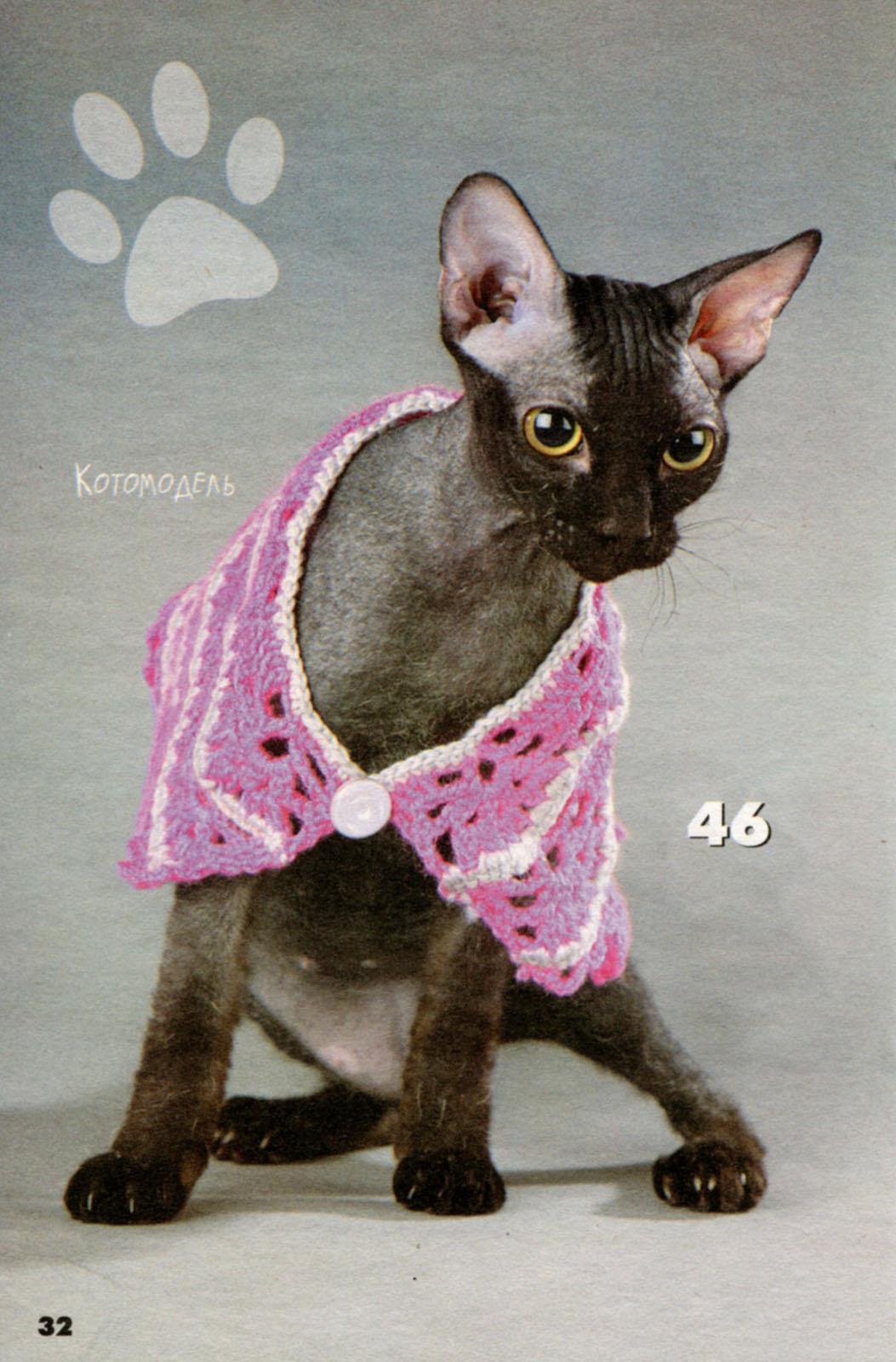 Одежда вязанная крючком для кошек своими руками